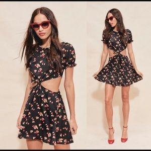 For Love and Lemons Cherry Print Cutout Mini Dress